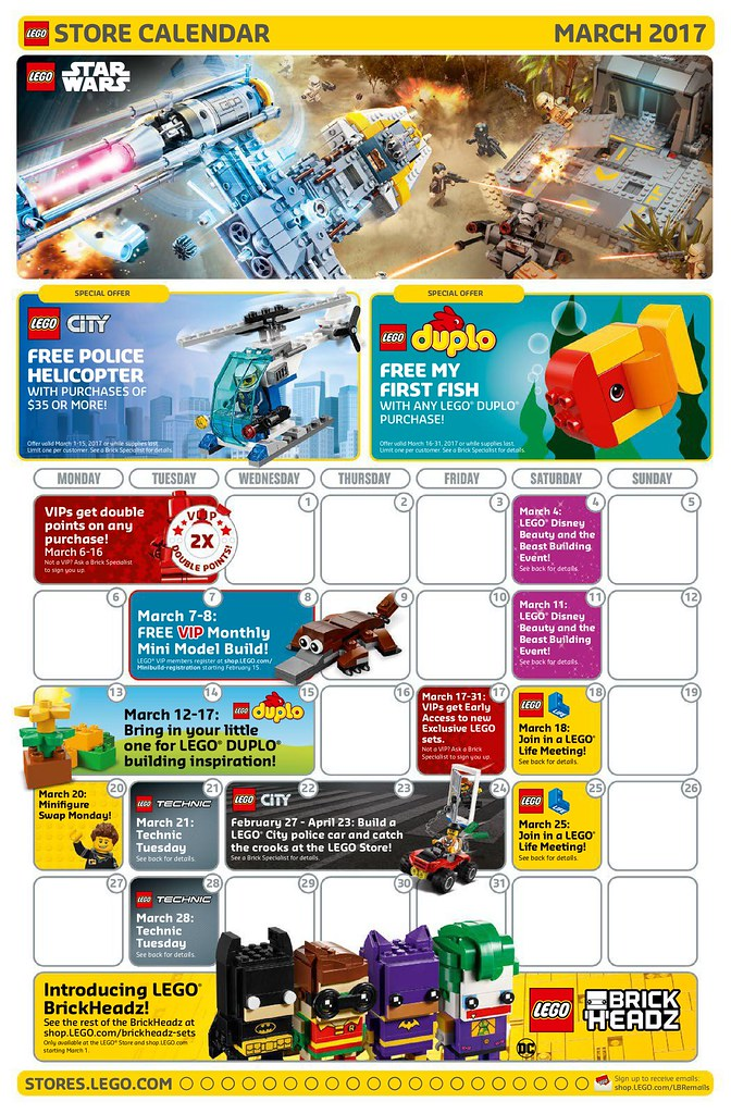 LEGO March 2017 Store Calendar | Read more here: www.thebric ...