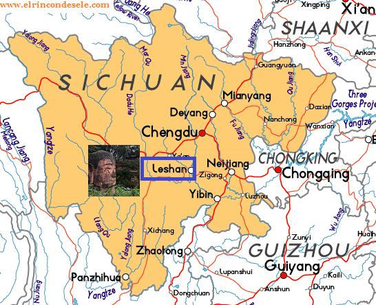 Mapa de situación de Leshan (cómo ir desde Chengdú)