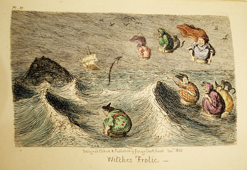 "George Cruikshank - ""Witches Frolic"" coloredIllustration from ""Letters On Demonology And Witchcraft"" by Walter Scott, 1830"