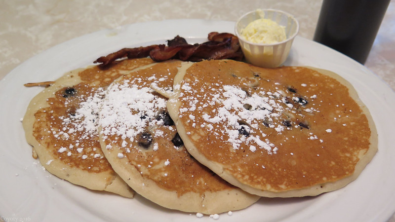 Blueberry pancakes and bacon