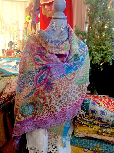 Gorgeous scarves at Osthoff's German Christmas Market. From How To Spend a Weekend At The Osthoff Resort, Elkhart Lake, Wisconsin
