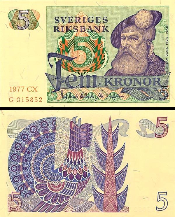 5 Korún Švédsko 1978, P51d
