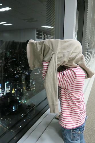 東京ミッドタウンから満月と東京タワーを撮る人 2015.10.27