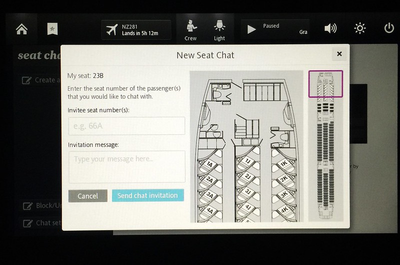 Have a chat with anyone onboard the same flight with Air New Zealand. Pretty fun and useful feature!