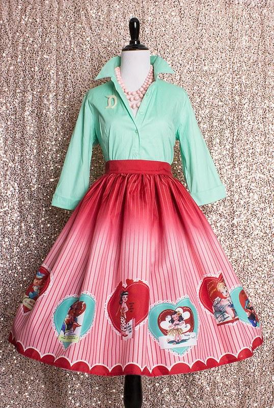 vintage valentine skirt oblong box shop