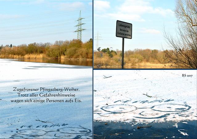 Mannheim-Pfingstberg, 26. Januar 2017 ... Der Pfingstberg-Weiher ist zugefroren ... Winterlandschaft, Eis und Schnee ... Fotos und Collagen: Brigitte Stolle, Mannheim