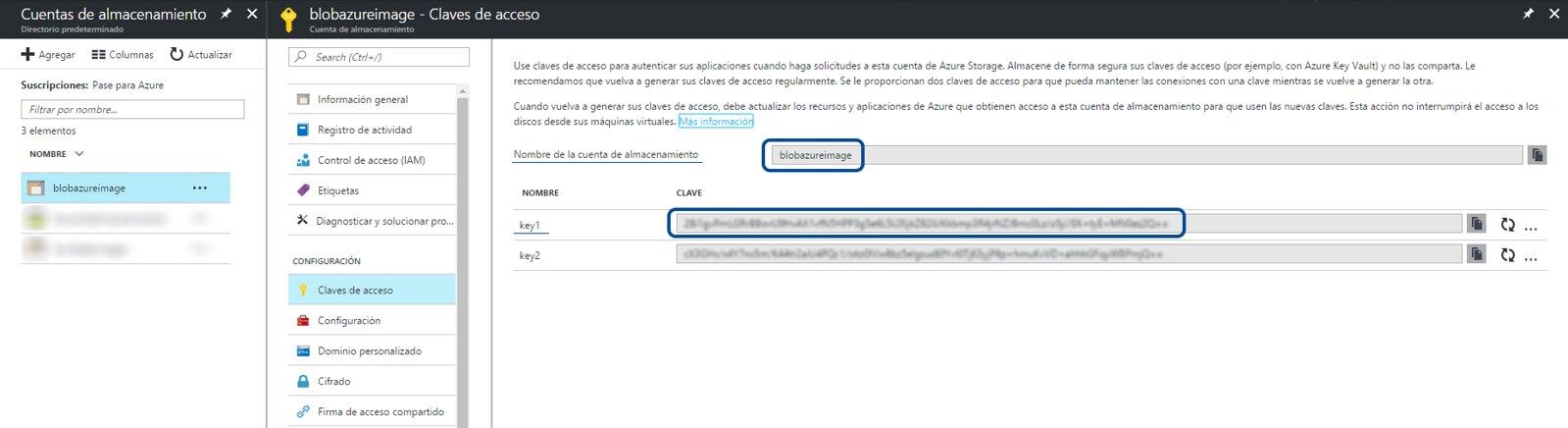 1.nombre_clave Almacenamiento de BLOB en Azure