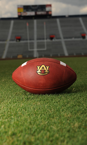 An Auburn football is pictured on turf grass. (Flickr.com)
