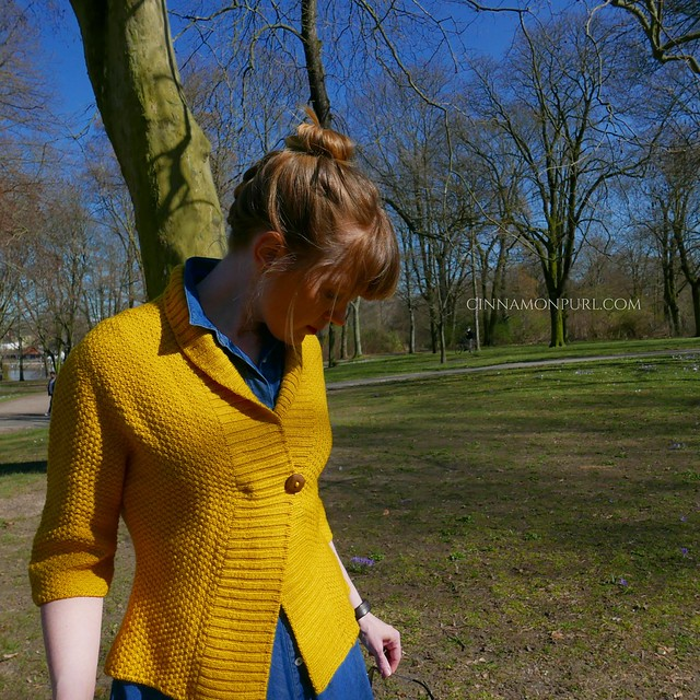 button band yellow cardigan