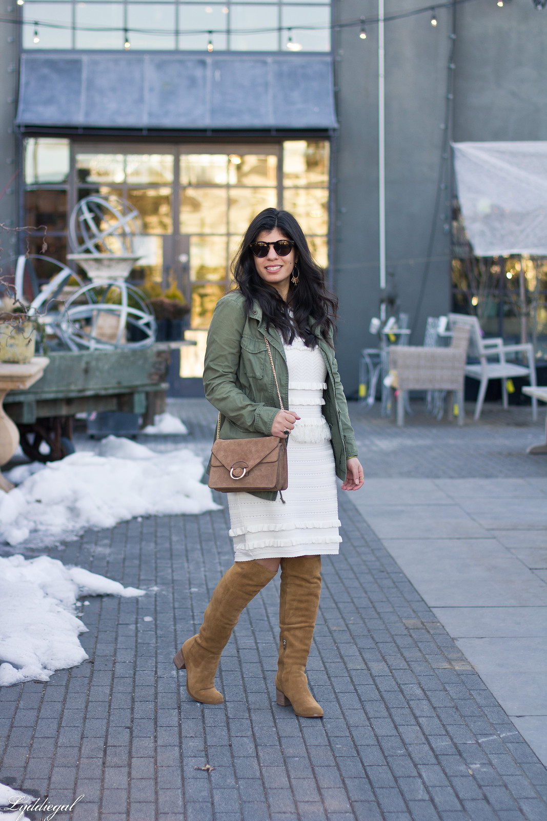 white pom pom sweater dress, utilty jacket, brown over the knee boots-2.jpg