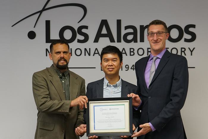 David Mascareñas, Yongchao Yang and Alessandro Cattaneo (left to right) display their Best Paper Award.