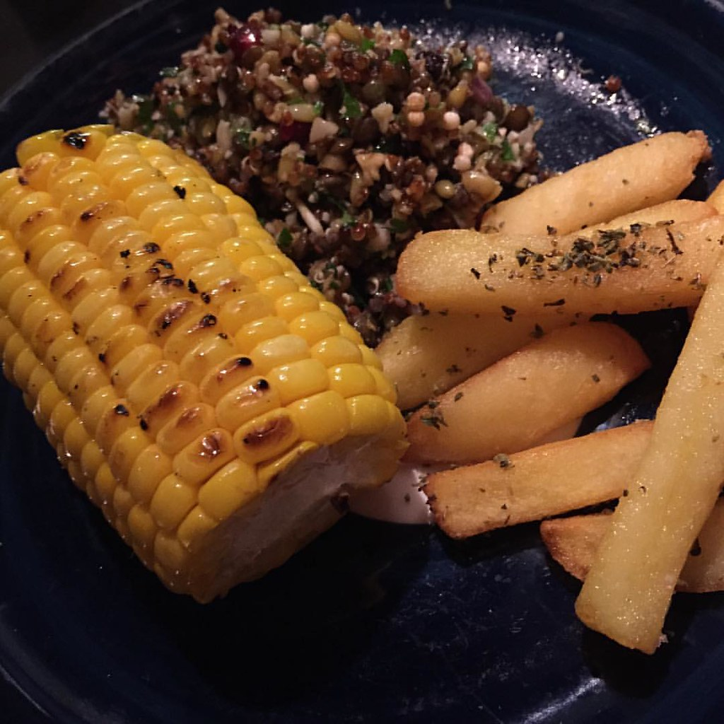fat chips, grain salad and chargrilled corn at gazi restaurant in melbourne