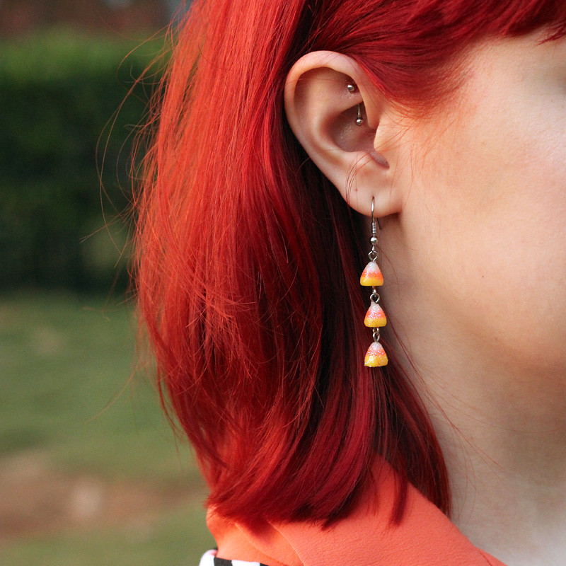 Candy Corn Earrings and Bright Red Hair