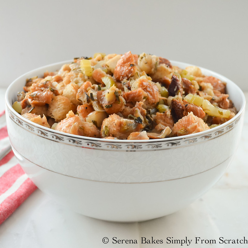 Crock Pot Stuffing tastes just like it was cooked in the Turkey but easier to make. serenabakessimplyfromscratch.com