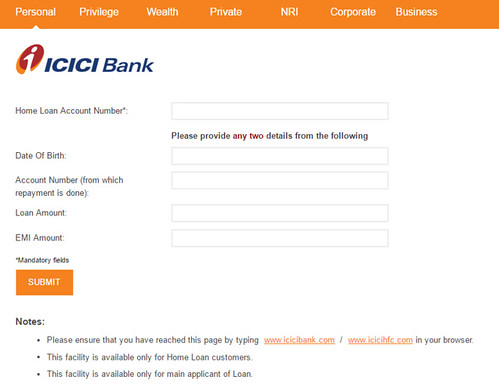 ICICI Home loan statement