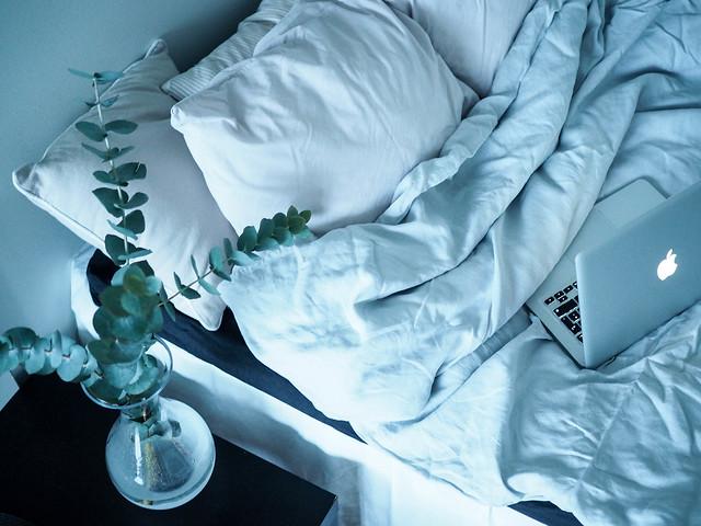 P1281750.jpgLightGrayLinenBeddingCozyHomeBed,P1281744.jpgLetsStayInBedMacbookCoffeeEucalyptus,LetsStayInBedHomeVibesMacEucalyptus-1281738.jpg, home, koti, interior, decor, sisustaminen, kodin sisustus, pellavalakanat, harmaa, gray, bed, sänky, koti, home, interior, inspiration, home interior, kodin sisustus, sheets, eucalyptus, coffee, kahvi, hobstar, macbook, laptop, kannettava, maljakko, kukat, flowers, home vibes, vase, eucalyptus branches, light gray, linen sheets, h&m,
