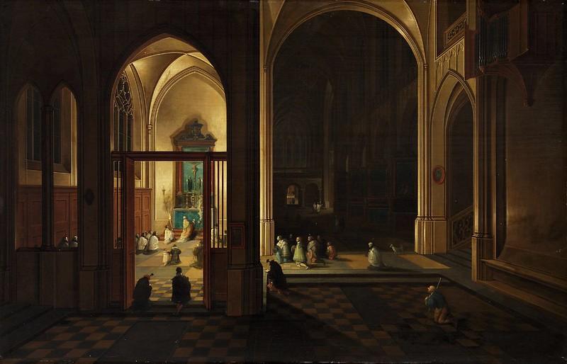 Pieter Neefs - Pieter Neefs the Elder - Evening Mass in a Gothic Church