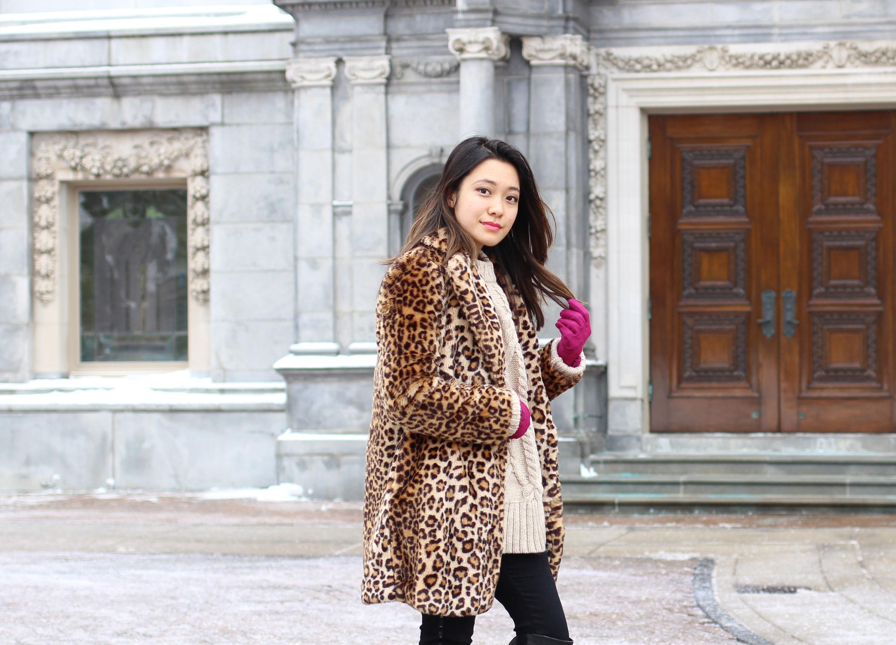 Leopard print furry coat