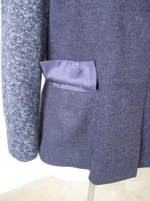 blue denim wool jacket pocket details