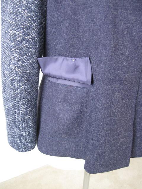 blue denim wool jacket pocket details