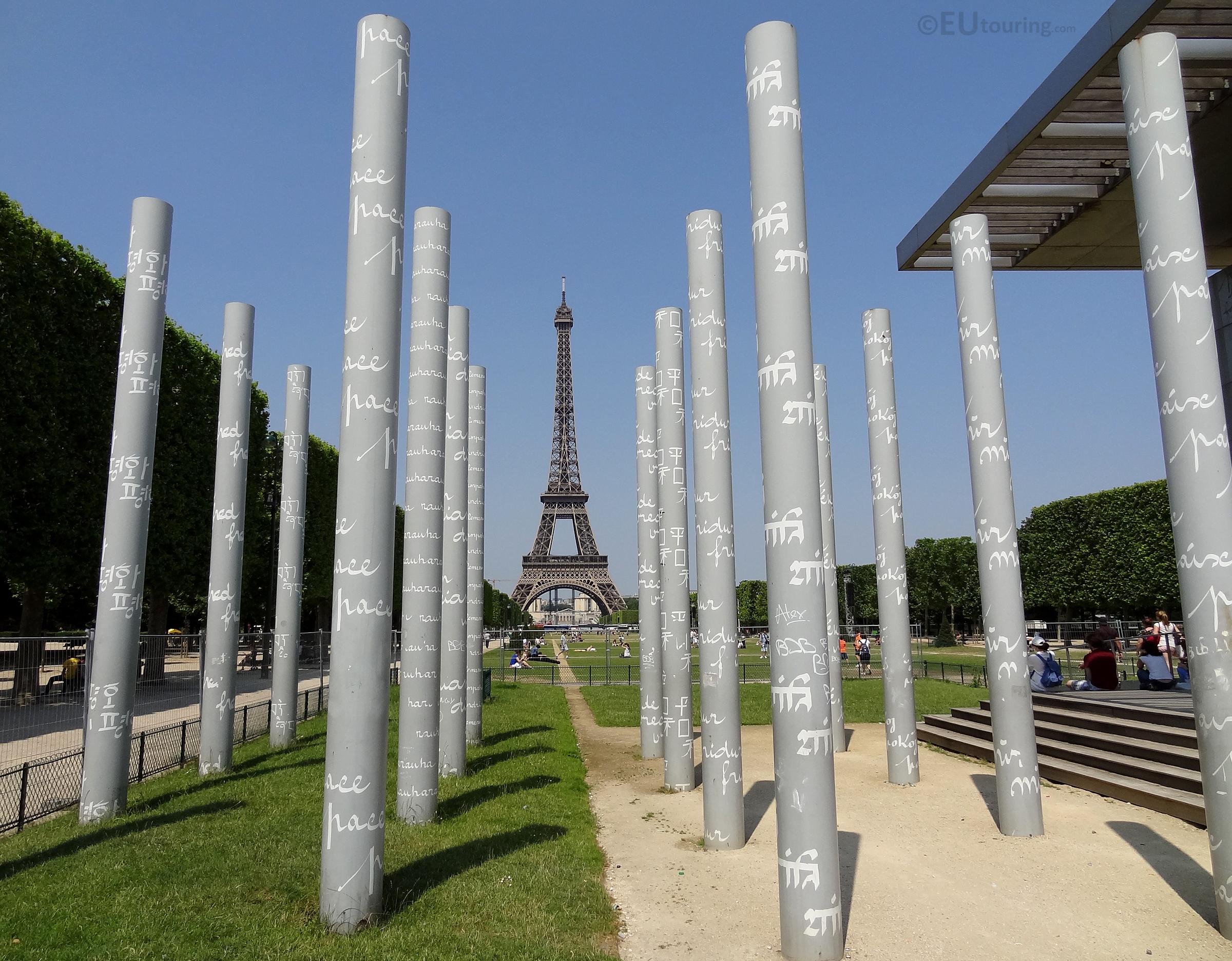 Eiffel Tower between columns