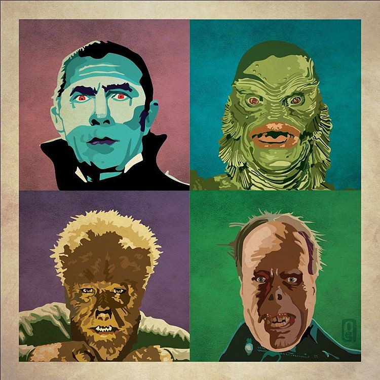 Universal Monsters Dracula, Creature from the Black Lagoon, Wolf Man & Phantom by Ian Skelton