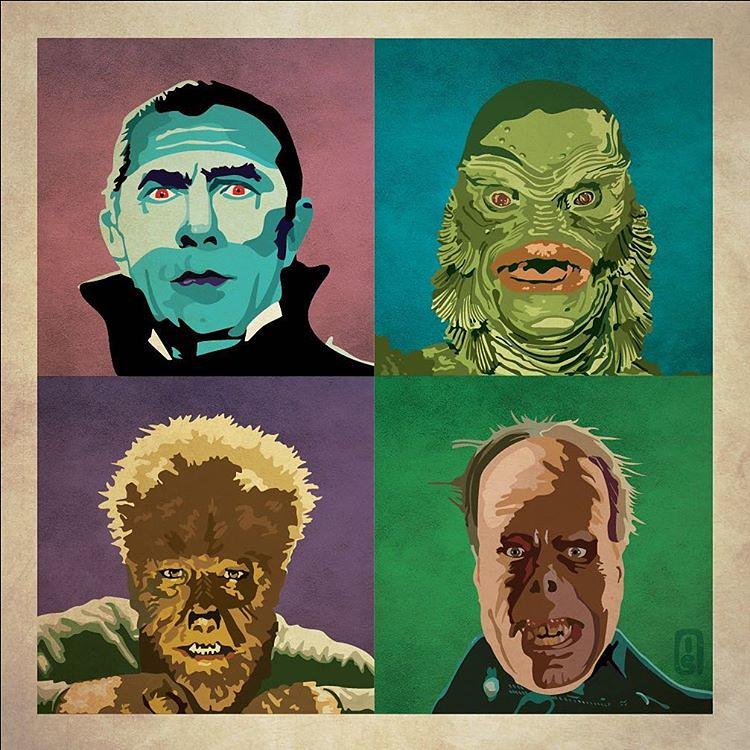 Universal Monsters Dracula, Creature from the Black Lagoon, Wolf Man & Phantom by Ian Skelton