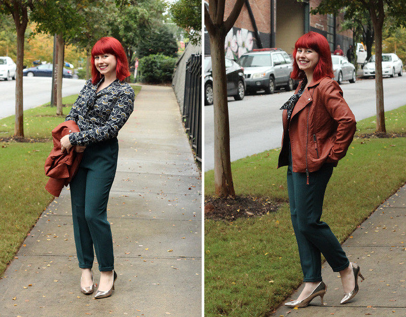 ASOS work outfit - Brown Leather Jacket, Dark Green Skinny Trousers, a Patterned Navy Blue Top, and Rose Gold Heels