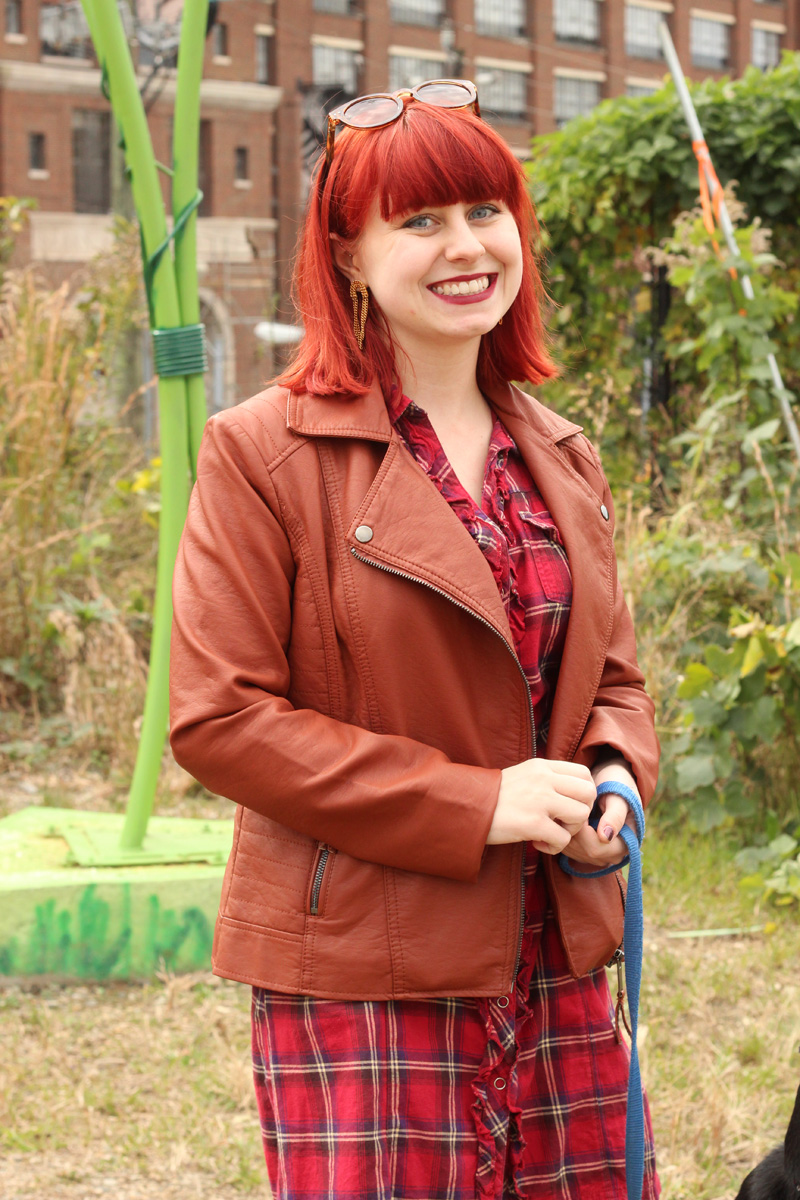 Bright Red Hair, Tawny Brown Leather Jacket, and a Red Plaid Dress
