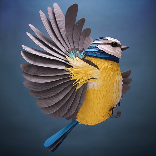 Blue Tit Paper Sculpture by Lisa Lloyd