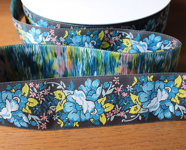Renaissance Ribbons Gorgeous Woven Blue Floral