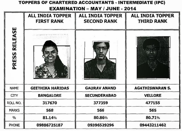 CA IPCC Toppers May 2014