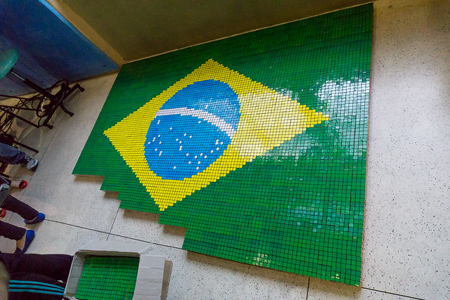 Brazilian National Flag Rubik's Cube Mosaic
