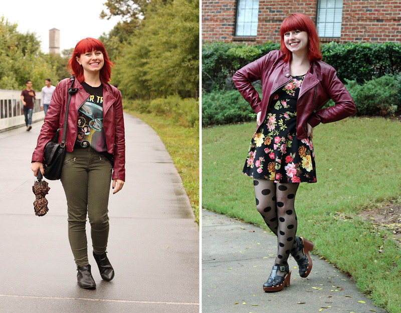 Different ways to wear a burgundy leather moto jacket