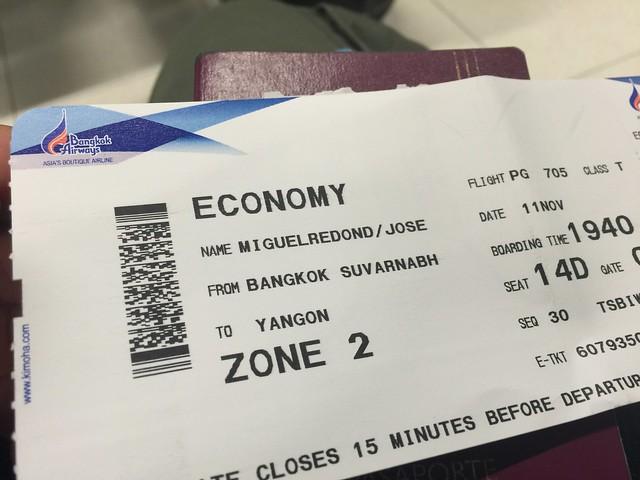 Billete de avión Bangkok - Yangon