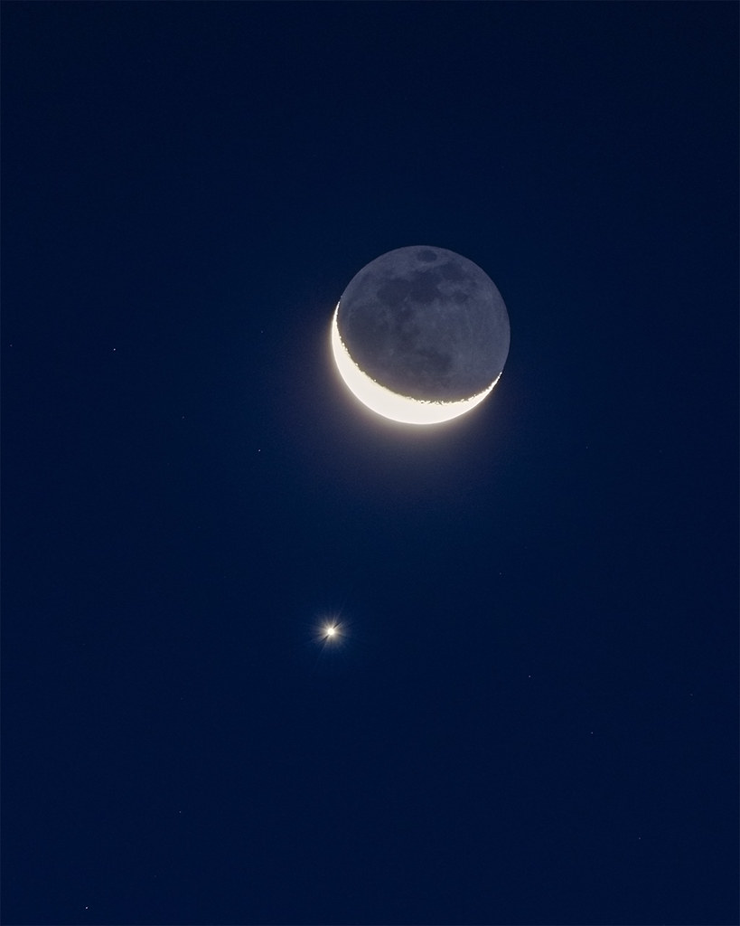 Moon and Venus Conjunction | The crescent moon and the plane