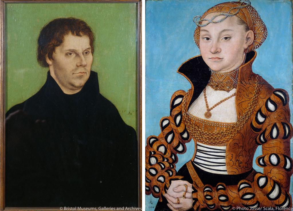 左《マルティン・ルター》(1525年、ブリストル市立美術館蔵) 右《ザクセン公女マリア》(1534年、リヨン美術館蔵)