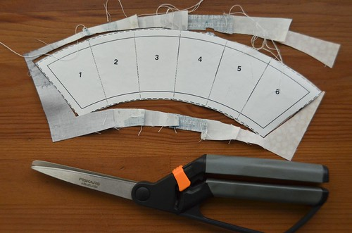 9. Trim excess fabric from around paper template