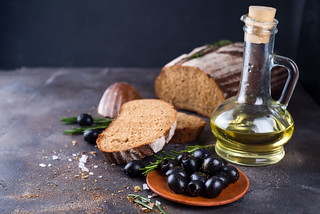 Fresh ciabatta with olive oil and olives | by lyule4ik
