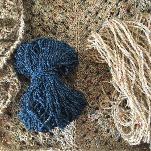 Well I don't have enough of the tweed to finish the shawl so I think the border is going to be knit with a contrast blue. I'm sure it will look fine. 😅😁😬😐😕☹️