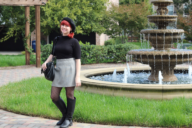 Black Turtleneck, Houndstooth Thrifted Mini Skirt, Black Beret, and Black Boots