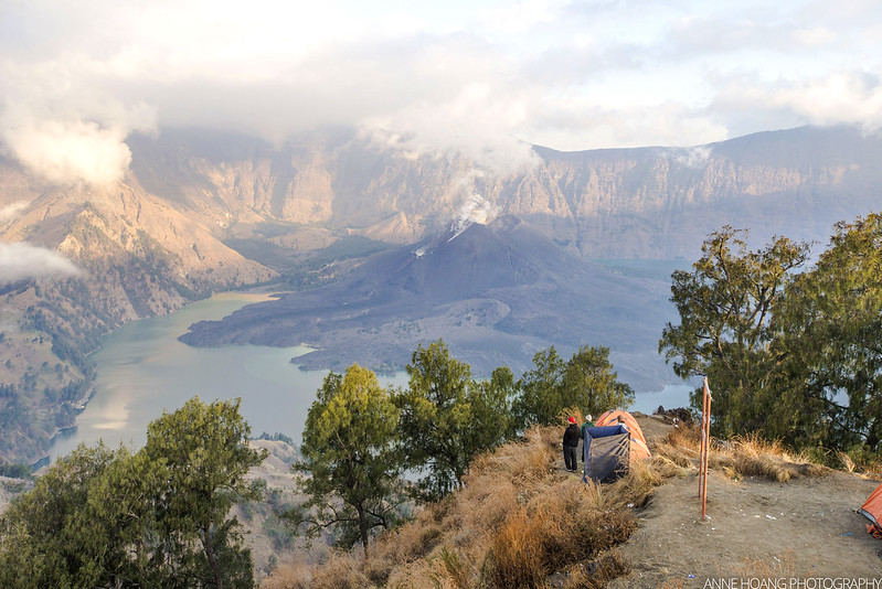 Sunset at Mount Rinjani crater rim