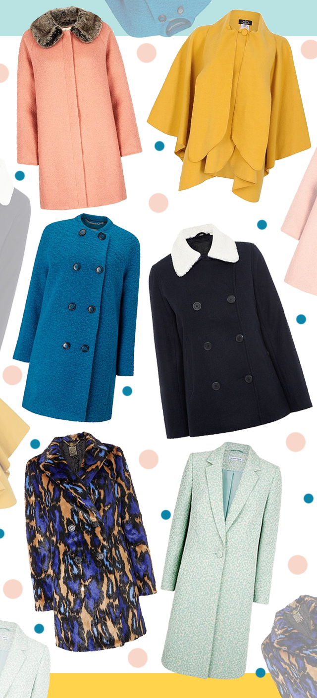 collage of colourful coats for a winter coat wishlist