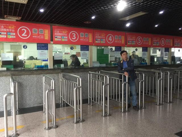 Taquilla de la Estación de autobuses de Chengdú (para ir a Leshan)