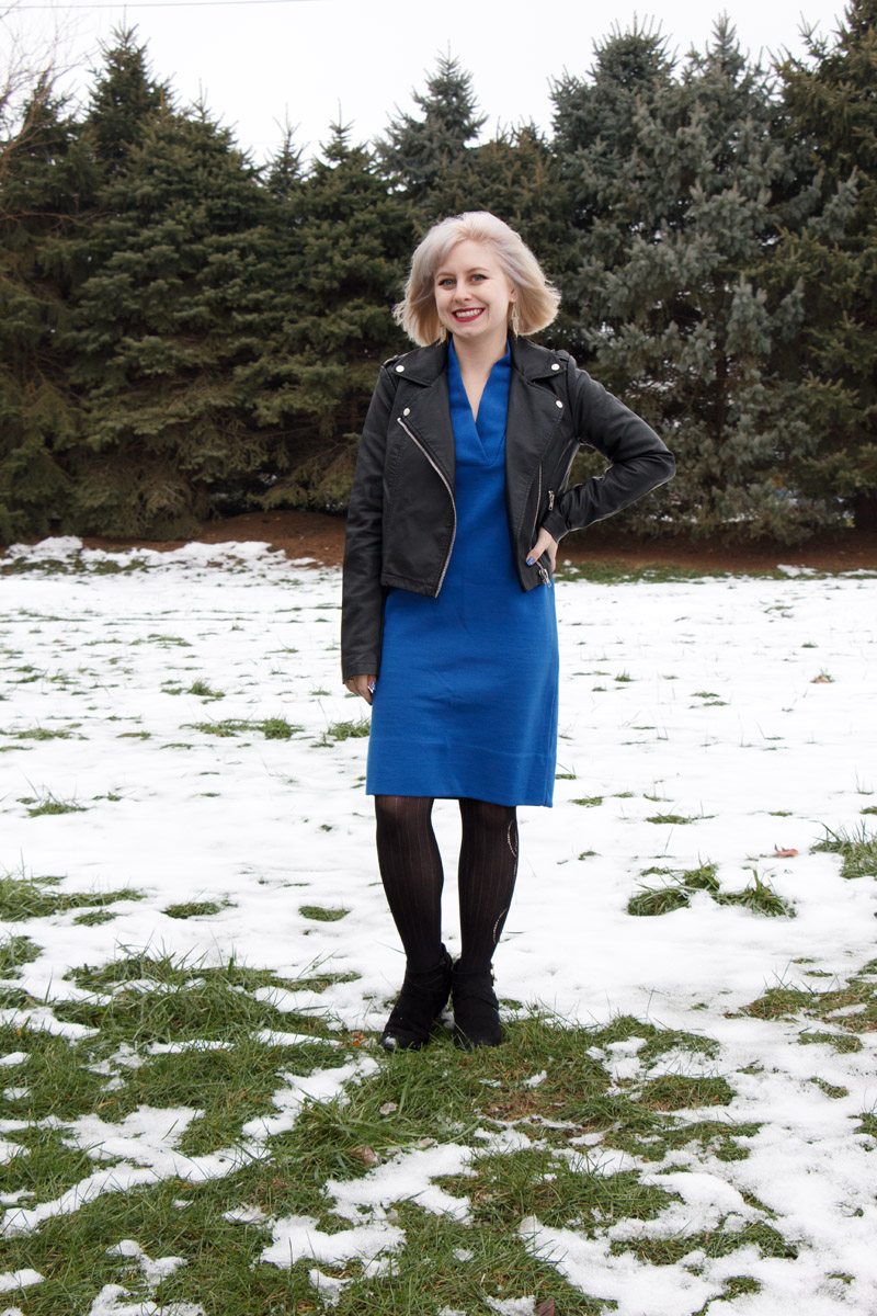 Vintage Blue Shift Dress with a Leather Jacket and Wedge Boots