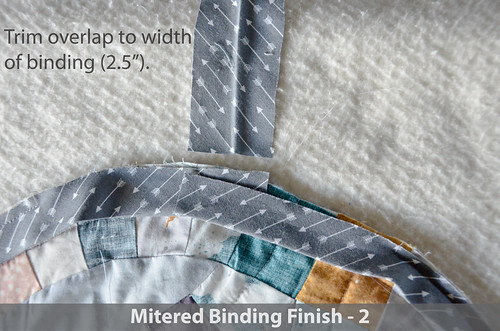 "DWR:: Mitered Binding 2: Trim overlapping binding to the width of the binding (about 2.5"")"