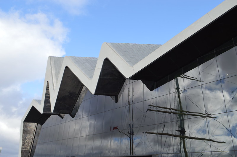 This is an exterior picture of the Riverside Museum in Glasgow