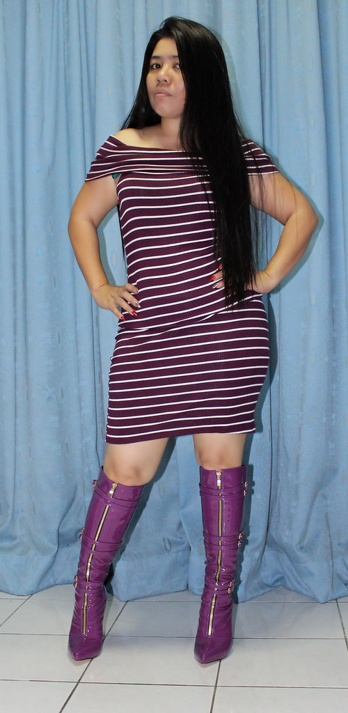 Knee High  Striped Tube Dress And My Patent Purple Boots -1377