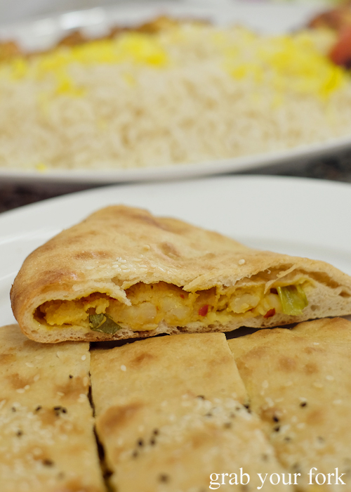 Bolani Afghan flat bread stuffed with potato, spring onion and chilli from Afghan & Arab Bakery in Lakemba