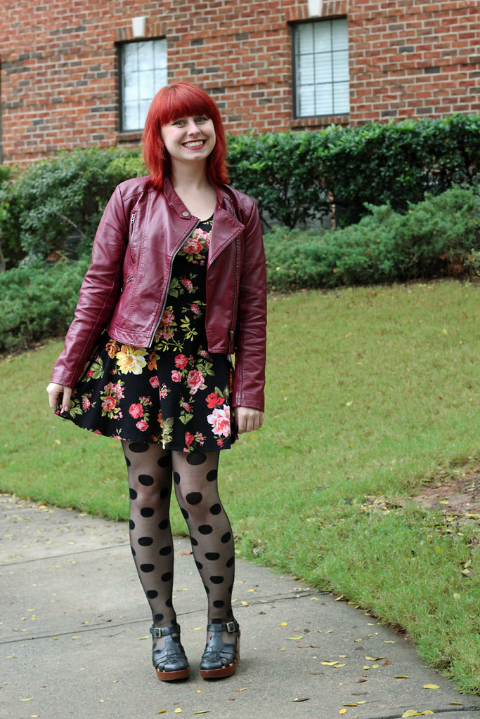 Polka Dot Tights, Dark Floral Print Fit and Flare Dress, Burgundy Faux Leather Jacket, and Chunky Sandal Heels